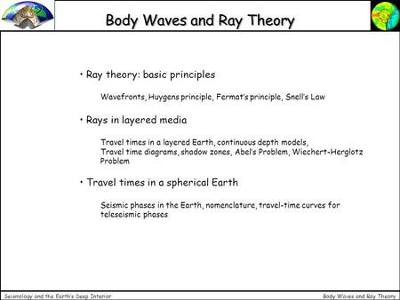 Body Waves and Ray Theory