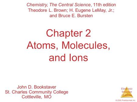 Electronic Structure of Atoms © 2009, Prentice-Hall, Inc. Chapter 2 Atoms, Molecules, and Ions John D. Bookstaver St. Charles Community College Cottleville,