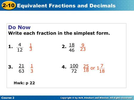 Learn to write rational numbers in equivalent forms. - ppt ...
