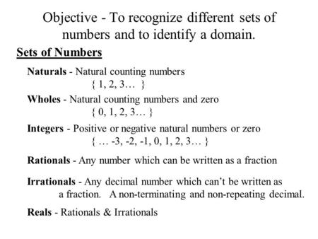 Naturals - Natural counting numbers { 1, 2, 3…  }