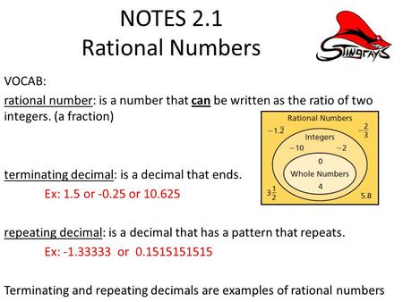 NOTES 2.1 Rational Numbers VOCAB: rational number: is a number that can be written as the ratio of two integers. (a fraction) terminating decimal: is a.