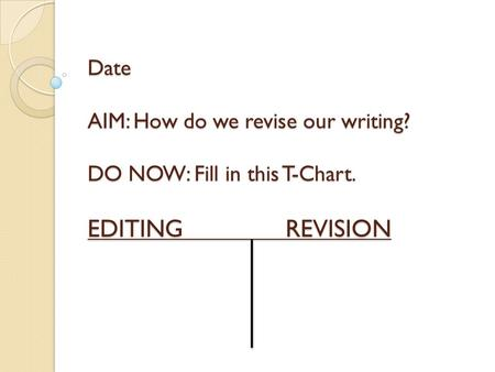 Date AIM: How do we revise our writing? DO NOW: Fill in this T-Chart. EDITINGREVISION.