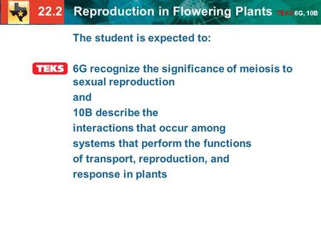 22.2 Reproduction in Flowering Plants TEKS 6G, 10B The student is expected to: 6G recognize the significance of meiosis to sexual reproduction and 10B.