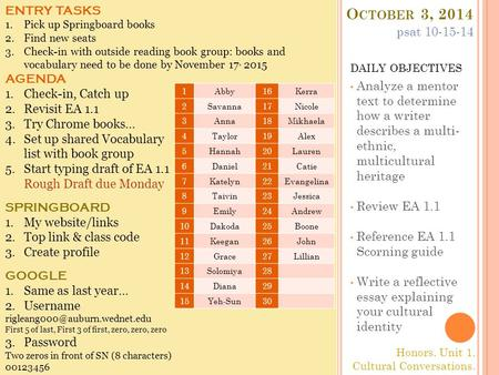 O CTOBER 3, 2014 DAILY OBJECTIVES Analyze a mentor text to determine how a writer describes a multi- ethnic, multicultural heritage Review EA 1.1 Reference.