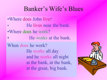 Banker's Wife's Blues Where does John live? Where does he work?