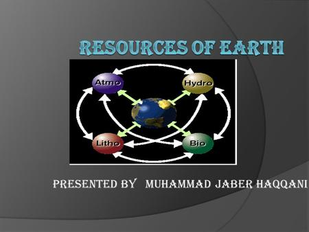 PRESENTED BY MUHAMMAD JABER HAQQANI. NATURAL RESOURCES  Materials or substances occurring in nature which can be exploited for economic gain and can.