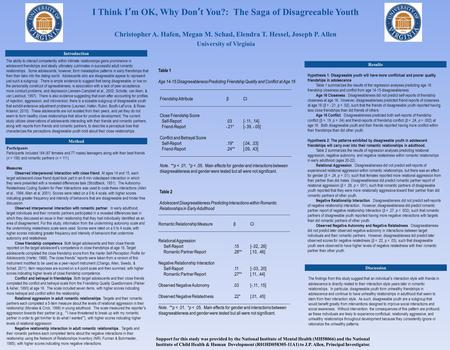 I Think I'm OK, Why Don't You?: The Saga of Disagreeable Youth Christopher A. Hafen, Megan M. Schad, Elendra T. Hessel, Joseph P. Allen University of Virginia.