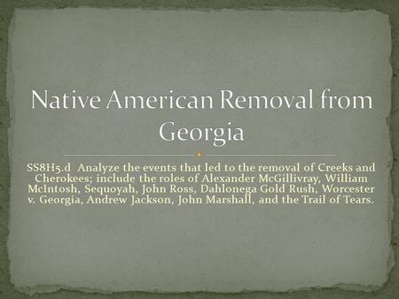 Native American Removal from Georgia