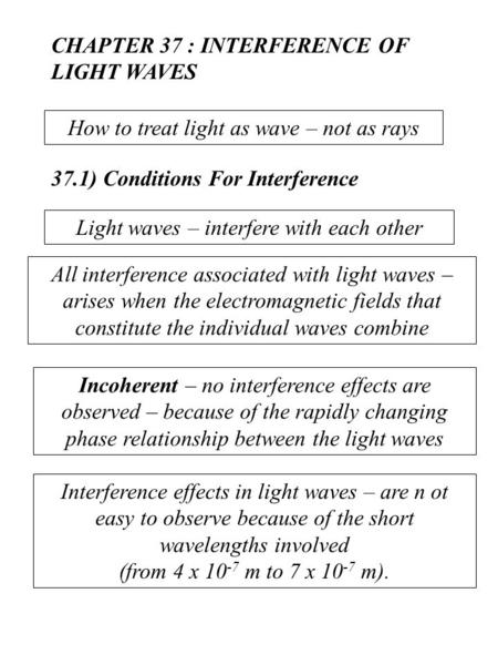 CHAPTER 37 : INTERFERENCE OF LIGHT WAVES
