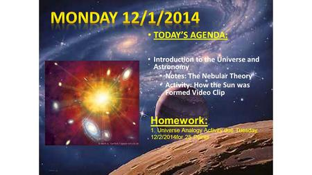 TODAY'S AGENDA: Introduction to the Universe and Astronomy Notes: The Nebular Theory Activity: How the Sun was Formed Video Clip Homework: 1. Universe.