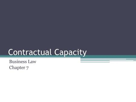 Contractual Capacity Business Law Chapter 7. Opening Scene Alena Jake Arkadi Mr. Barenbalatt Narrator.