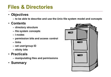 Files & Directories Objectives –to be able to describe and use the Unix file system model and concepts Contents –directory structure –file system concepts.