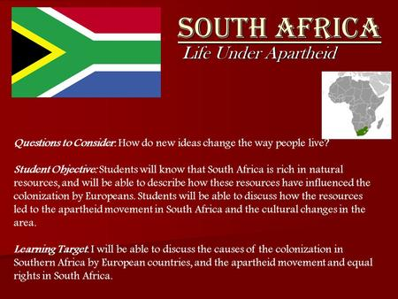 South Africa Life Under Apartheid