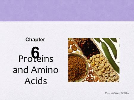 Proteins and Amino Acids Chapter 6 Photo courtesy of the USDA.