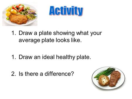 Activity Draw a plate showing what your average plate looks like.