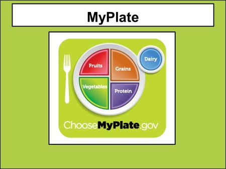 MyPlate. Fruits Group 1.Use fruits as snacks, salads or desserts. 2.Choose whole or cut up fruits more often than fruit juice. Key Consumer Message: Make.