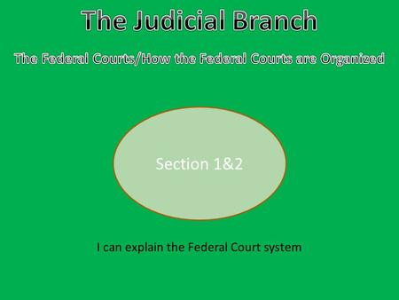 Section 1&2 I can explain the Federal Court system.