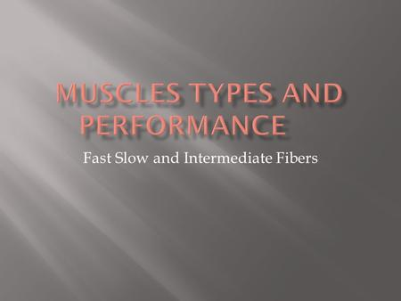 Fast Slow and Intermediate Fibers Power: Maximum amount of tension that can be produced by a muscle Depends on number of contractile units which depends.