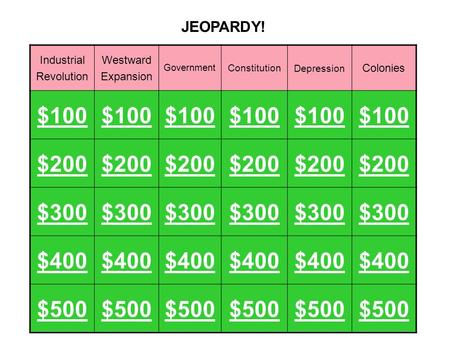 Industrial Revolution Westward Expansion Government ConstitutionDepression Colonies $100 $200 $300 $400 $500 JEOPARDY!