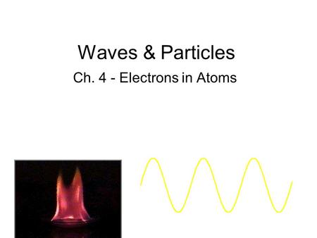 Waves & Particles Ch. 4 - Electrons in Atoms.
