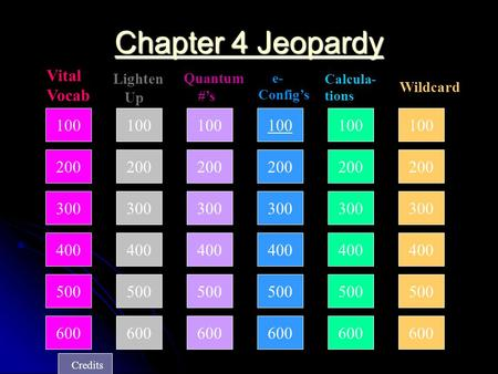 100 200 300 400 Lighten Up Quantum #'s e- Config's Calcula- tions Wildcard Chapter 4 Jeopardy Chapter 4 Jeopardy Vital Vocab 500 600 100 200 300 400 500.