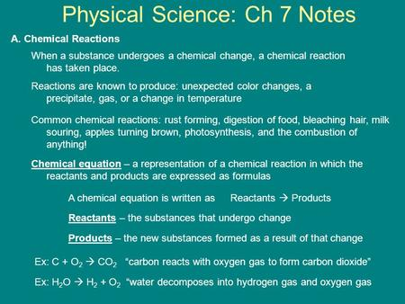 Physical Science: Ch 7 Notes