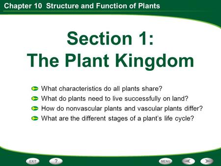 Section 1: The Plant Kingdom