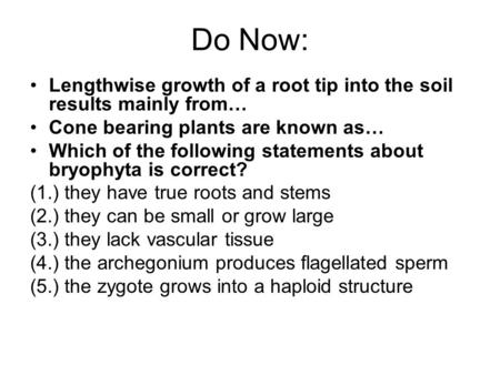 Do Now: Lengthwise growth of a root tip into the soil results mainly from… Cone bearing plants are known as… Which of the following statements about bryophyta.
