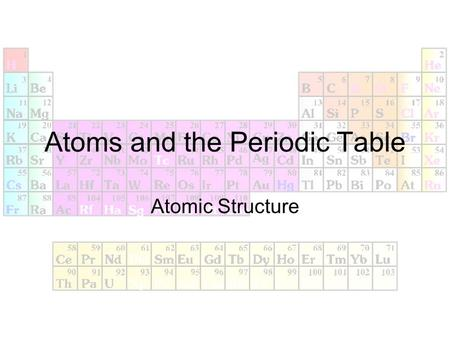 Atoms and the Periodic Table Atomic Structure. What are atoms? Democritus –4 th century B.C.; Greek philosopher Suggested that the universe was made of.