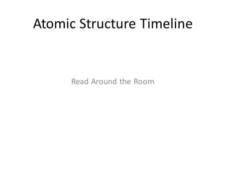 Atomic Structure Timeline Read Around the Room. Democritus (400 B.C.) Proposed that matter was composed of tiny indivisible particles Not based on experimental.