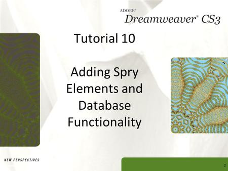 Tutorial 10 Adding Spry Elements and Database Functionality Dreamweaver CS3 Tutorial 101.