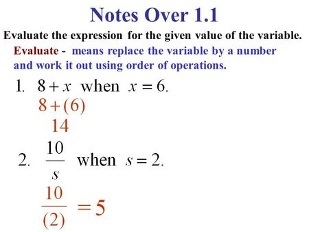 Notes Over 1.1 Evaluate the expression for the given value of the variable. Evaluate - means replace the variable by a number and work it out using order.