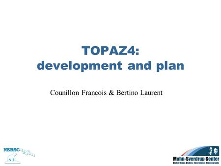 TOPAZ4: development and plan Counillon Francois & Bertino Laurent.
