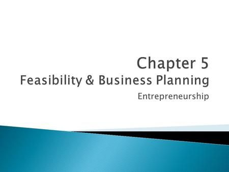 Chapter 5 Feasibility & Business Planning