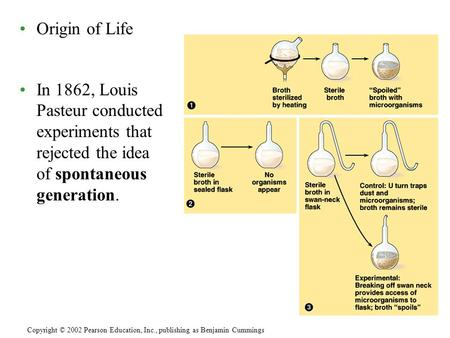 Copyright © 2002 Pearson Education, Inc., publishing as Benjamin Cummings Origin of Life In 1862, Louis Pasteur conducted experiments that rejected the.