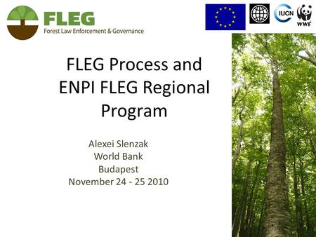 FLEG Process and ENPI FLEG Regional Program Alexei Slenzak World Bank Budapest November 24 - 25 2010.