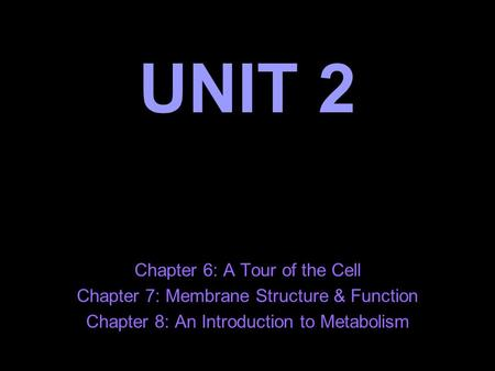 UNIT 2 Chapter 6: A Tour of the Cell Chapter 7: Membrane Structure & Function Chapter 8: An Introduction to Metabolism.