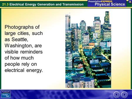 Photographs of large cities, such as Seattle, Washington, are visible reminders of how much people rely on electrical energy.