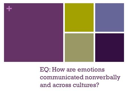 + EQ: How are emotions communicated nonverbally and across cultures?