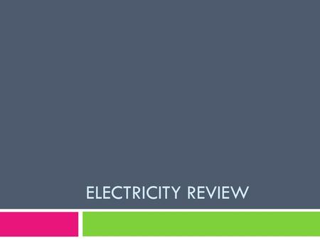 ELECTRICITY REVIEW. Charges  There are two types of charges- what are they?  Positive and Negative  Where do positive charges come from?  Protons.