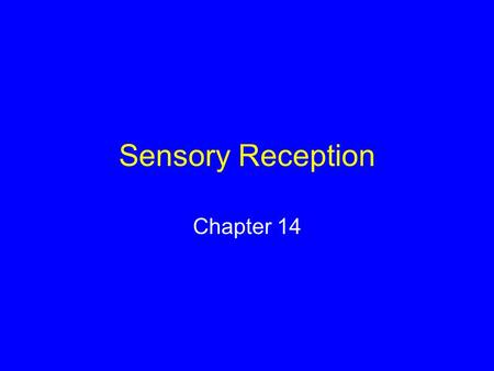 Sensory Reception Chapter 14. Sensory Systems The means by which organisms receive signals from the external world and internal environment.