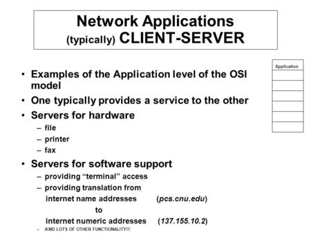 Network Applications (typically) CLIENT-SERVER Examples of the Application level of the OSI model One typically provides a service to the other Servers.