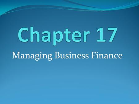 Managing Business Finance