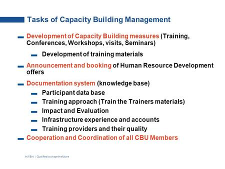 InWEnt | Qualified to shape the future Tasks of Capacity Building Management Development of Capacity Building measures (Training, Conferences, Workshops,