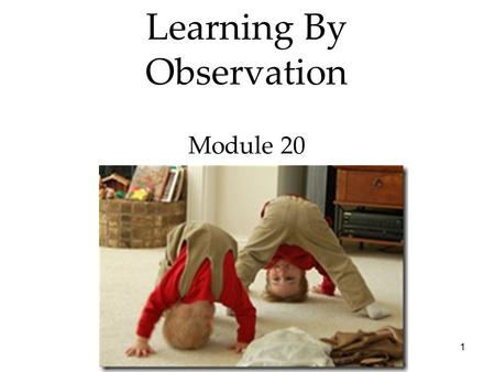1 Learning By Observation Module 20. 2 3  Bandura's Experiments  Applications of Observational Learning Learning by Observation Overview.