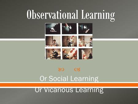 Or Social Learning Or Vicarious Learning.   Learning by observing others  Observational learning in every day life o Role Models o Watching a cooking.