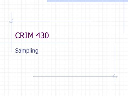CRIM 430 Sampling. Sampling is the process of selecting part of a population Target population represents everyone or everything that you are interested.
