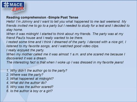 Reading comprehension -Simple Past Tense