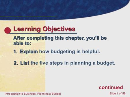 Introduction to Business, Planning a Budget Slide 1 of 59 Learning Objectives After completing this chapter, you'll be able to: 1.Explain 1.Explain how.