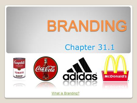 BRANDING Chapter 31.1 What is Branding?. UNDERSTANDING BRANDING BRAND a name, term, design, symbol, or combination of these elements that identifies a.